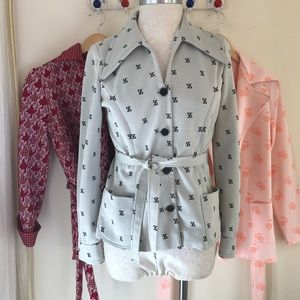 Vintage Sweaters - Lot of 3 vintage belted polyester disco jackets